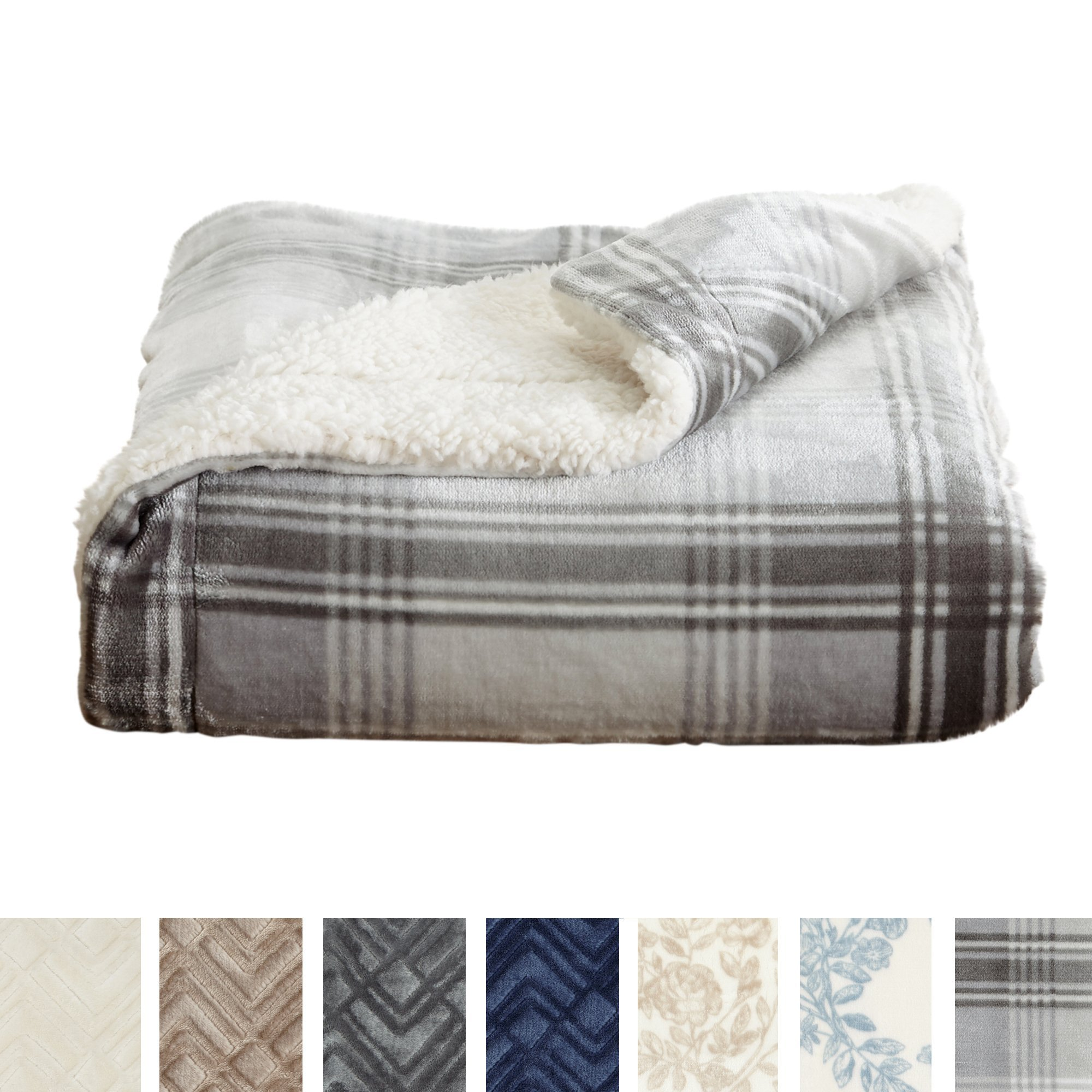 Home Fashion Designs Premium Reversible Berber and Sculpted Velvet Plush Luxury Blanket. High-End, Soft, Warm Sherpa Bed Blanket. By Brand. (Twin, Plaid Grey)