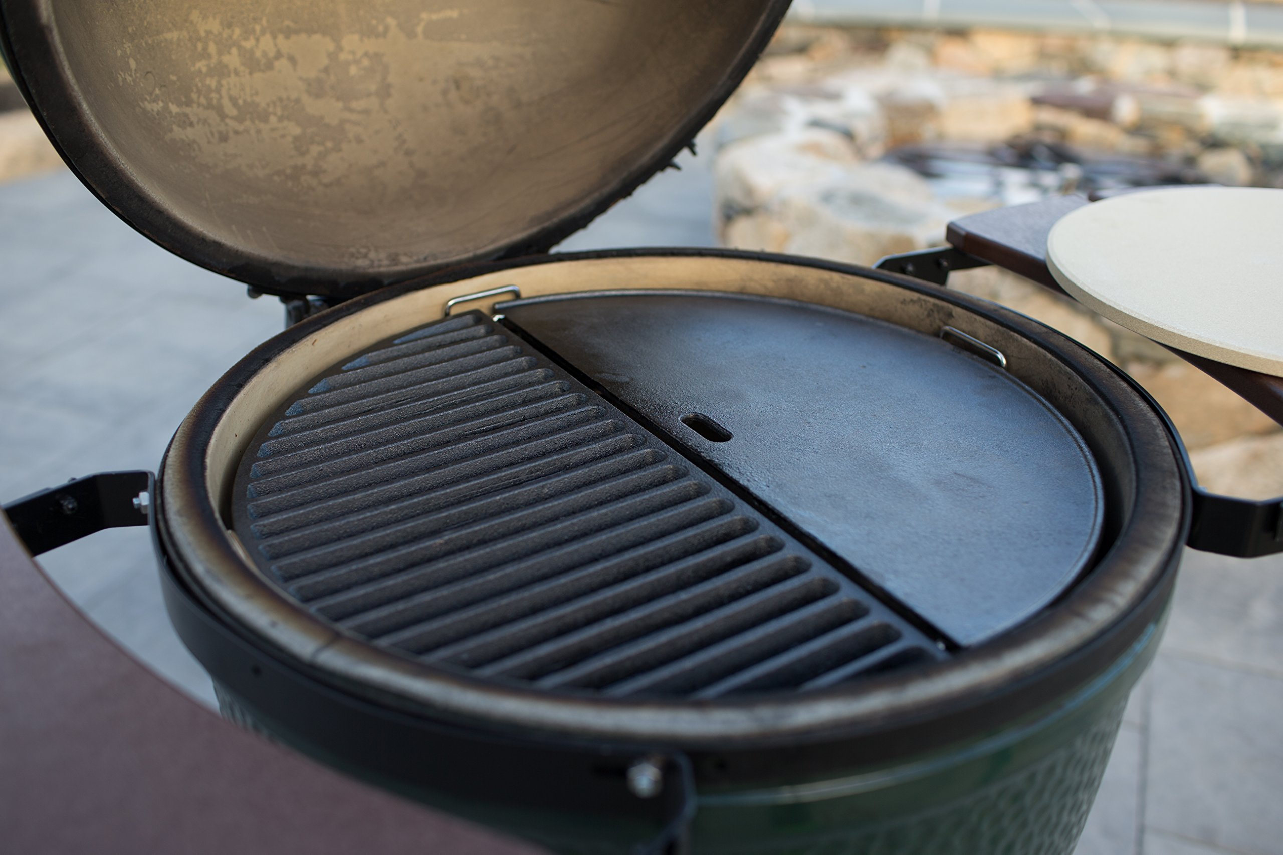 Half Moon Cast Iron Reversible Griddle for Large Big Green Egg and 18in Kamado Grills