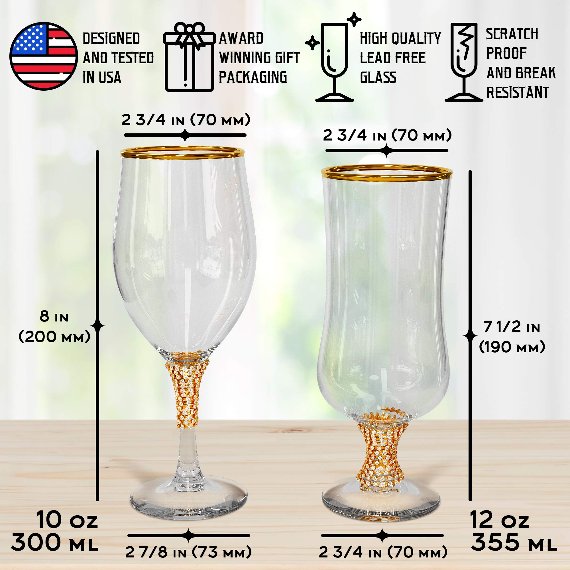 Newlywed Gifts for Couple, Luxury Mr and Mrs Wine Glass Set, Best Engagement Gift for Wedding, Bridal Shower, Bride and Groom, Unique Anniversary Present for Newly Married Couples, Just Engaged