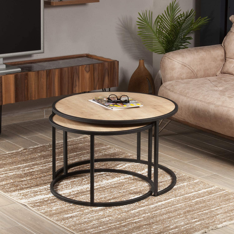 Decorotika Tambur 2 Pieces Nesting Coffee Table Sapphire Oak