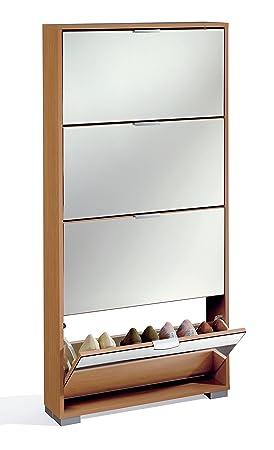 armario zapatero color cerezo con espejos en sus puertas abatibles herrajes para pared incluidos