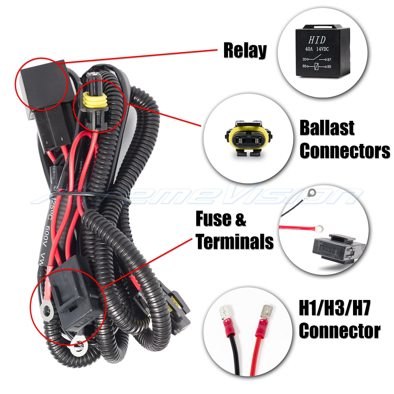Amazon.com: XtremeVision 9007 Hi/Lo Bi-Xenon Controller HID Battery Relay Wiring  Harness 12V 35W/55W: Automotive