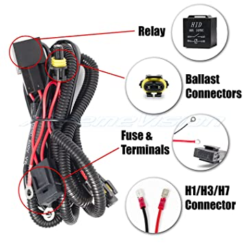 81jcMSSPntL._SY355_ amazon com xtremevision h1 h3 h7 hid battery wiring relay jc wire harness at reclaimingppi.co