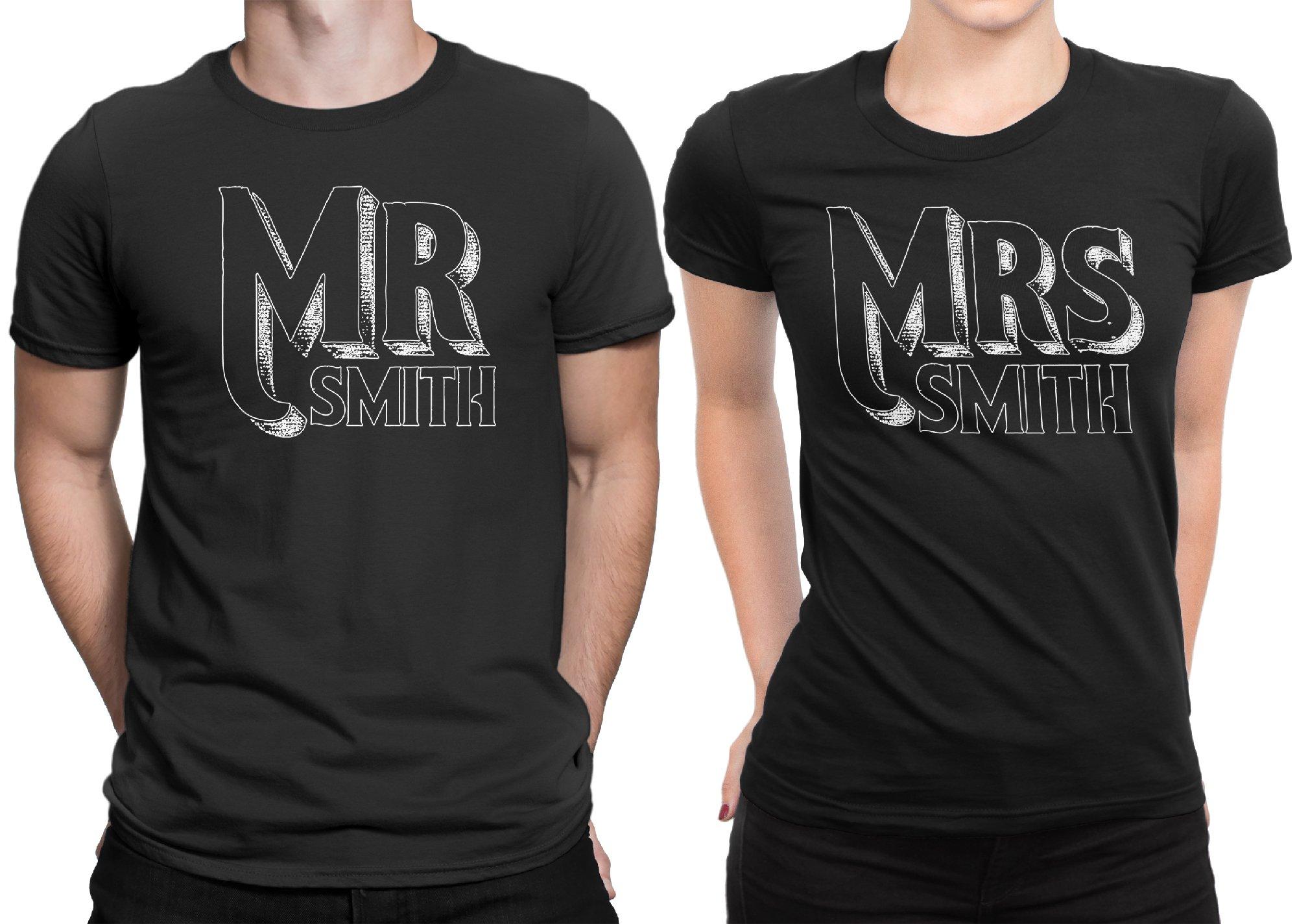 Mr Mrs Customized Lastname Married Couple Matching T-shirt Honeymoon valentines Men Large / Women X-Large | Black - Black
