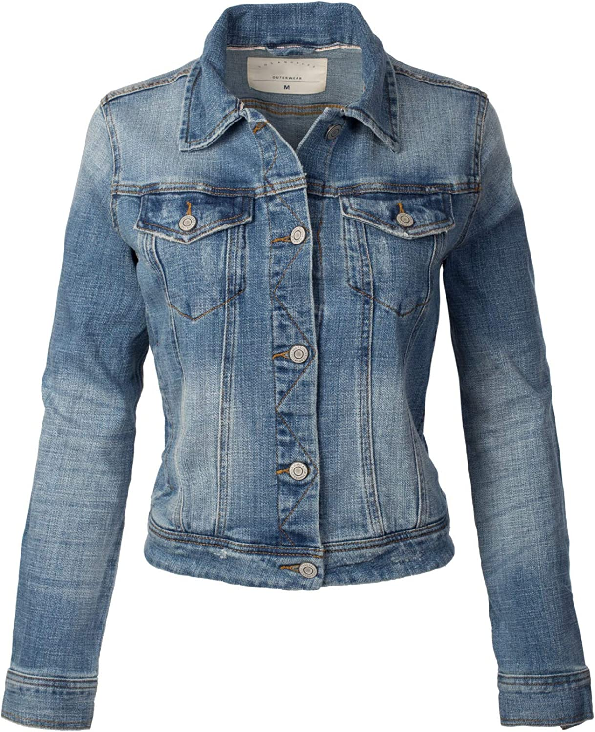 Design by Olivia Women's Classic Casual Vintage Denim Jean Jacket