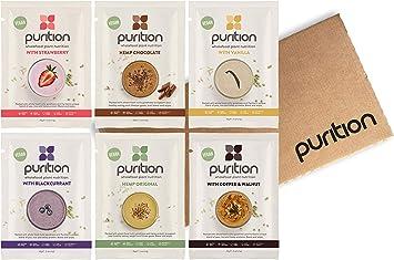 Purition Caja de muestras de batidos de proteínas veganos (6 x 40g ...