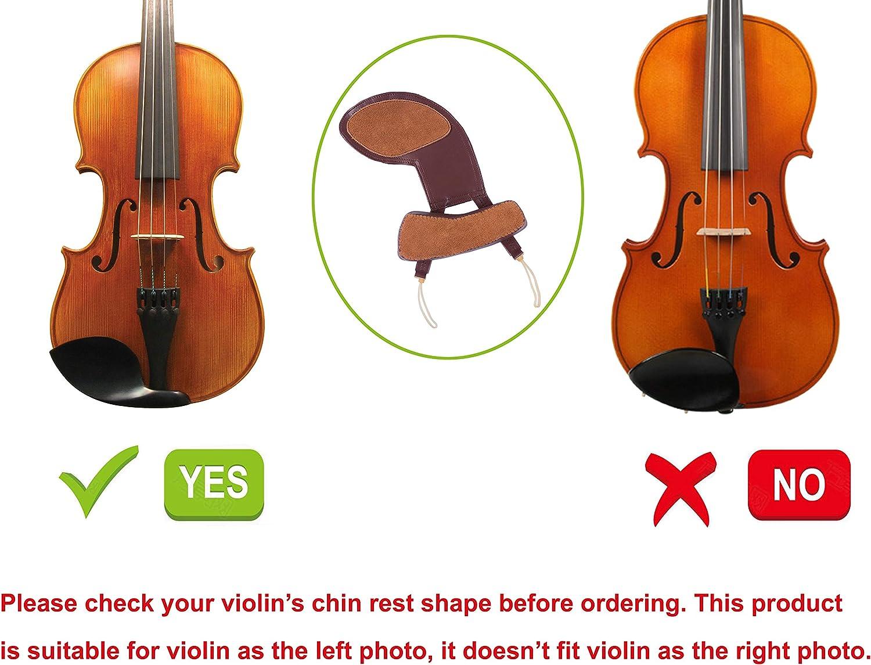 Rayzm mentonni/ère pour violon en cuir de mouton /épauli/ère de violon pour la plupart des violons 4//4 standard et 3//4 /épaulette amovible pour les violonistes droitiers uniquement non allerg/ène