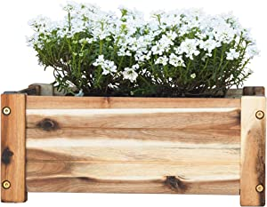 Villa Acacia Wooden Planter Box, Rectangle Shape for Garden, Patio or Window, 17 x 9.7 x 7 Inch