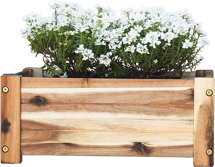 Villa Acacia Wooden Planter Box, Rectangle Shape for Garden, Patio or Window, 17 x 9.7 x 7 Inch
