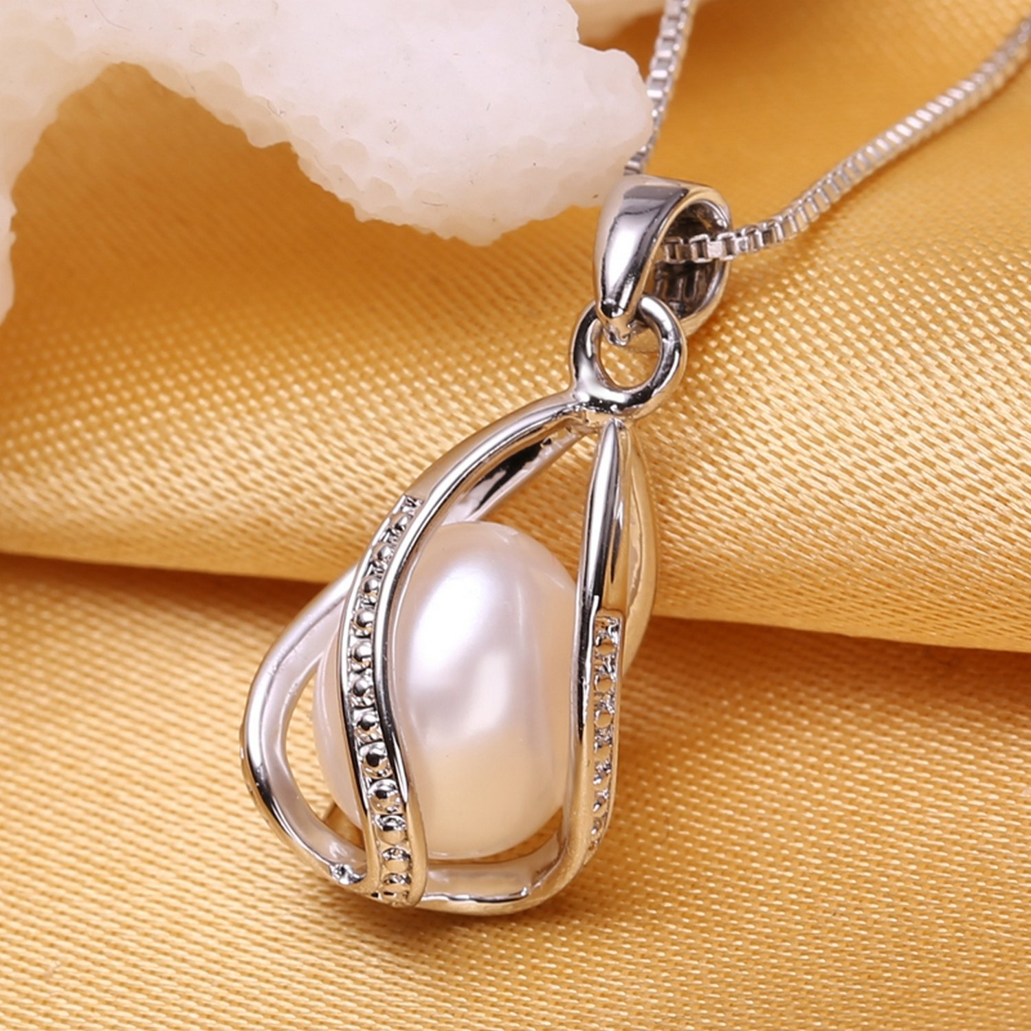 CS-DB Jewelry Silver Bohemian cage Brand Pearl Chain Charm Pendants Necklaces