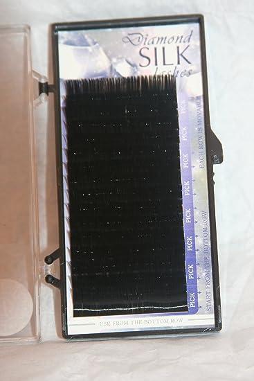 46ac571d0ee Amazon.com : Diamond Silk Eyelash Extension B Curl Size .06mm X 12mm (16  rows in 1 Tray) : Beauty