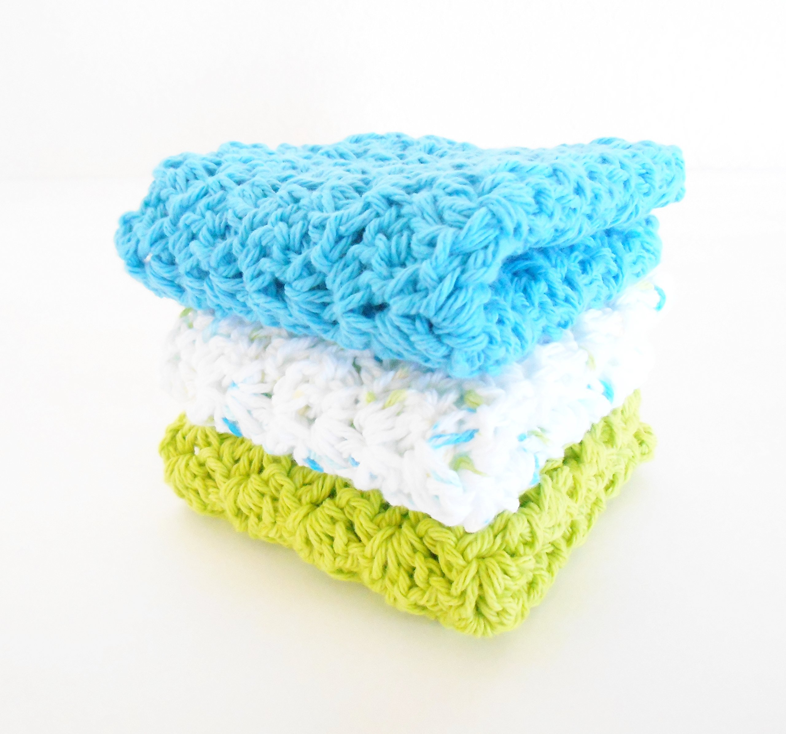 Crochet Kitchen Dishcloths, Set of Three, Lime Green, Ocean Blue, Multi