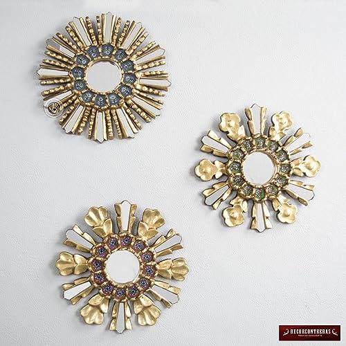 Amazon Com Sunburst Round Mirror Set 3 Multicolor Sunbursts