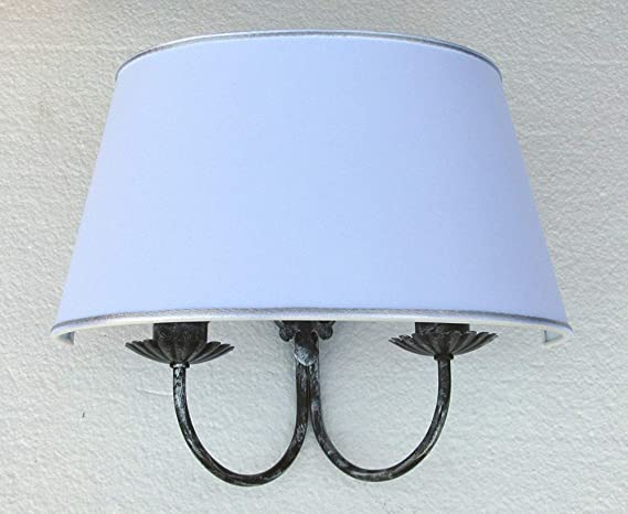 Paolo rossi applique doppia lampada da parete a due luci paralume
