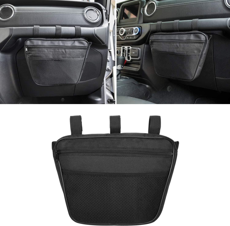 NO7RUBAN Passenger Grab Handles Accessory Storage Pouch Organizer Bag for Jeep Wrangler JK JL JKU TJ YJ CJ 1965-2019 Black Mesh UV Protected Polyester Dash Tools Bags