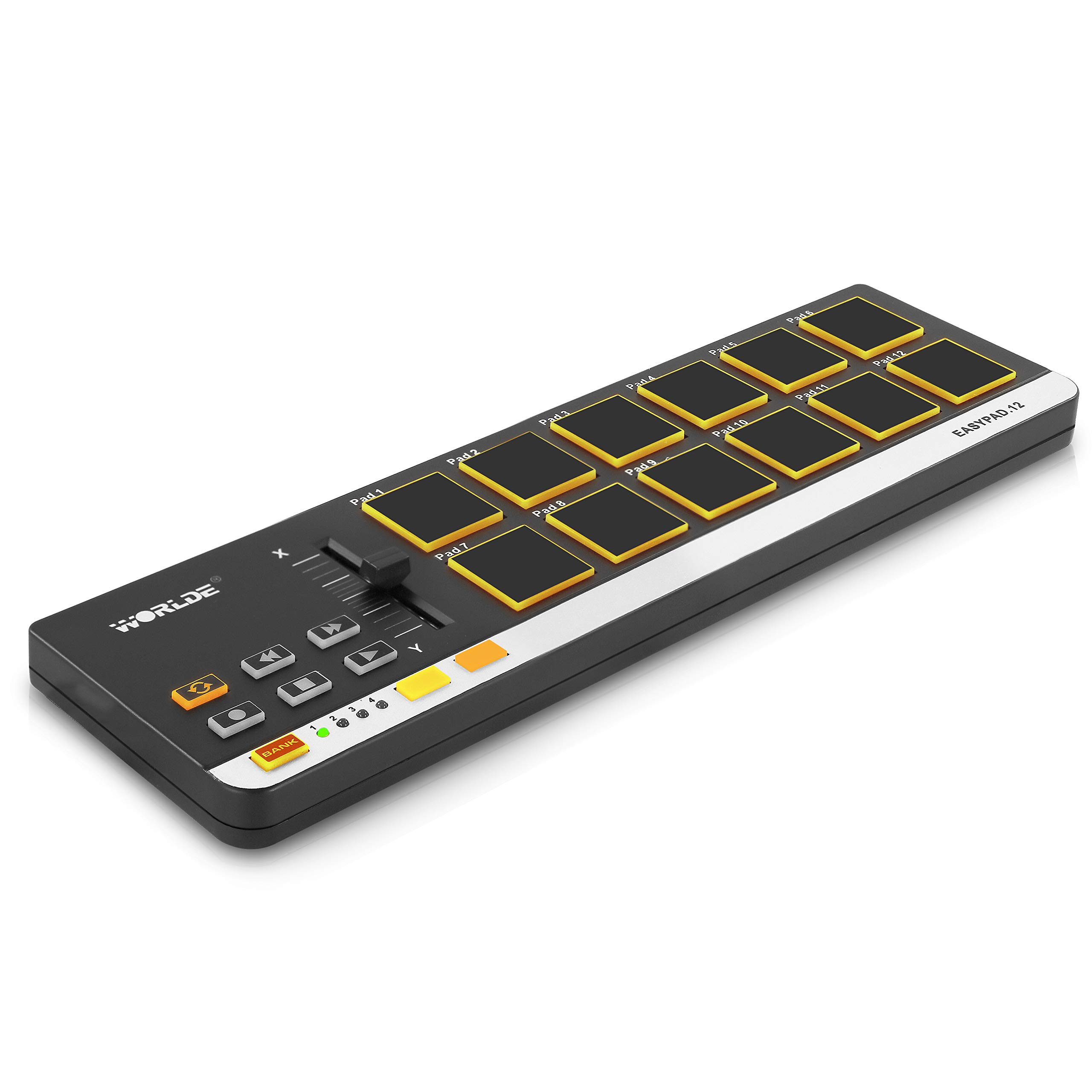 USB MIDI Controller Drum Pad - Mini Portable Beat Maker Workstation Equipment w/ 12 Drum Pads, DJ Fader Slider & Transport Buttons - Control any DAW Software Kit for Laptop Recording - Pyle PMIDIPD20