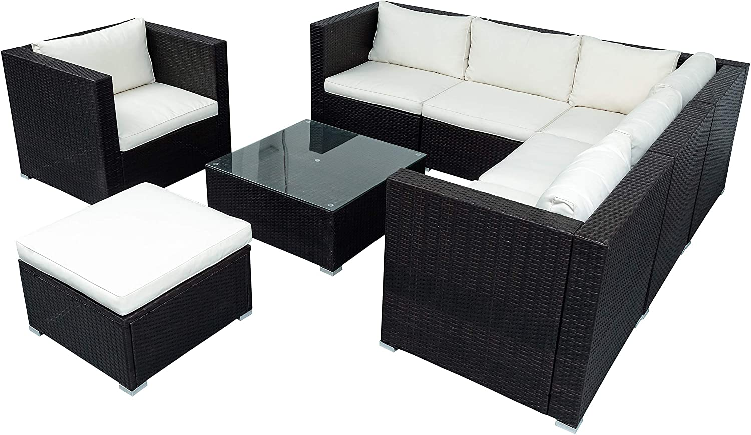 FYH Patio Furniture Sets, Outdoor PE Rattan Sectional Sofa, 8-Piece Patio Wicker Corner Sofa with Cushions, Ottoman and Coffee Table (Brown)