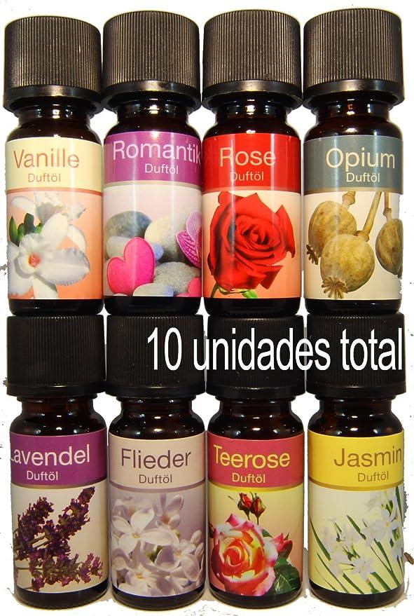 10 (diez) Botellas Aceites Esenciales Perfumados Concentrados +2 (dos) Hornillos para Aceite de Cerámica esmaltado o natural - ref16 - 10 Fragancias de 10ml ...
