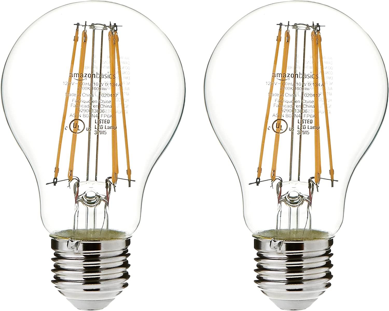 Amazon Basics 75 Watt Equivalent, Clear, Soft White, Non-Dimmable, 15, 000  Hour Lifetime, A19 LED Light Bulb   2-Pack - - Amazon.com