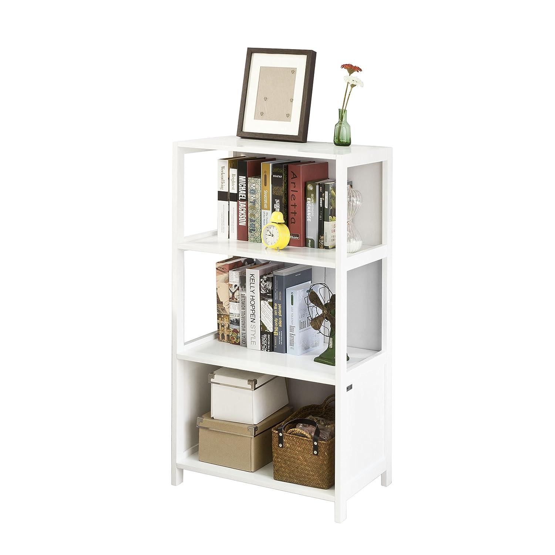 SoBuy® FRG189-W Bücherregal Standregal Aufbewahrungsregal Badregal mit 3 Ablagen weiß BHT ca.  60x114x38cm