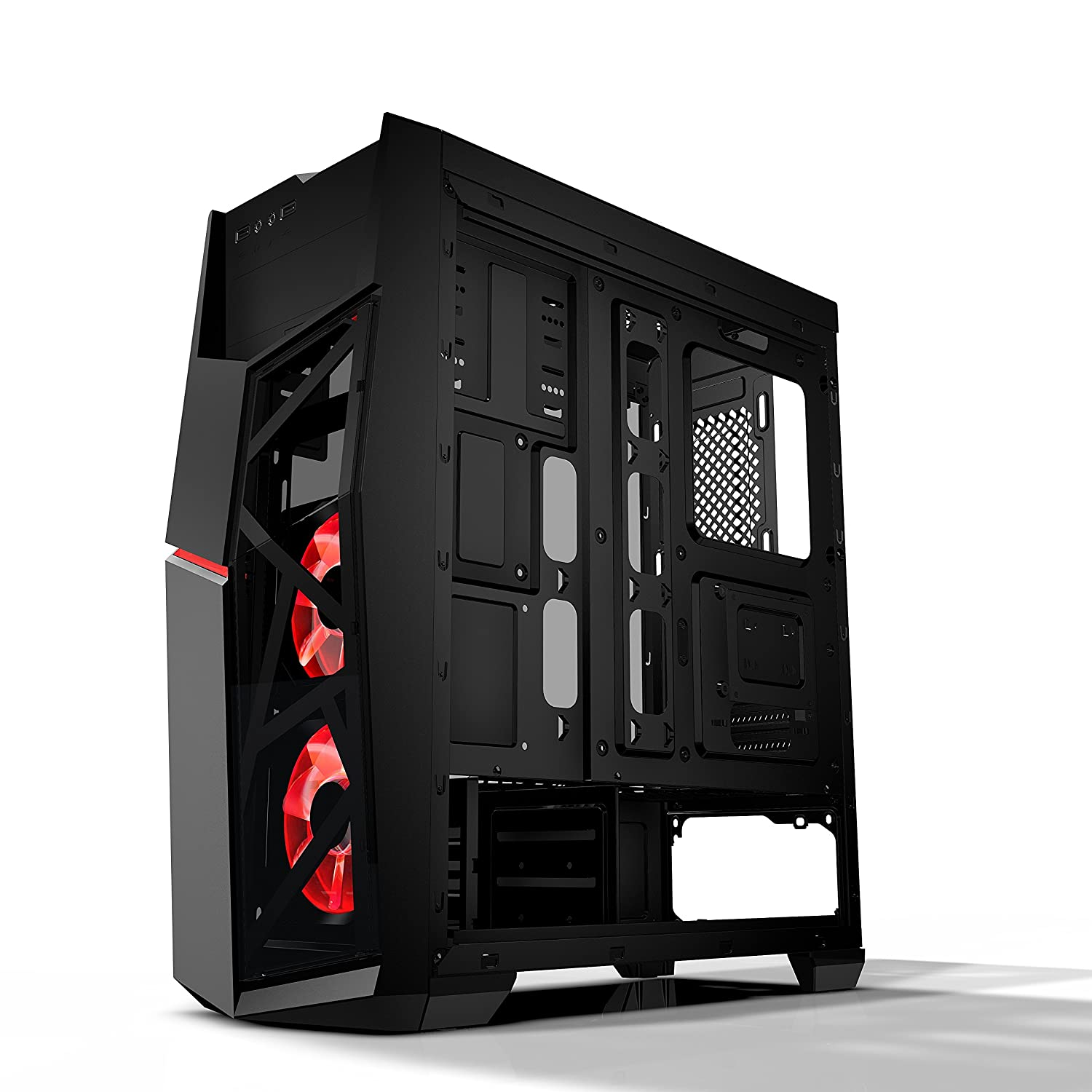 Amazon.com: AZZA Golem 221 Midtower Gaming Case with 2x120mm Red LED Fans: Computers & Accessories