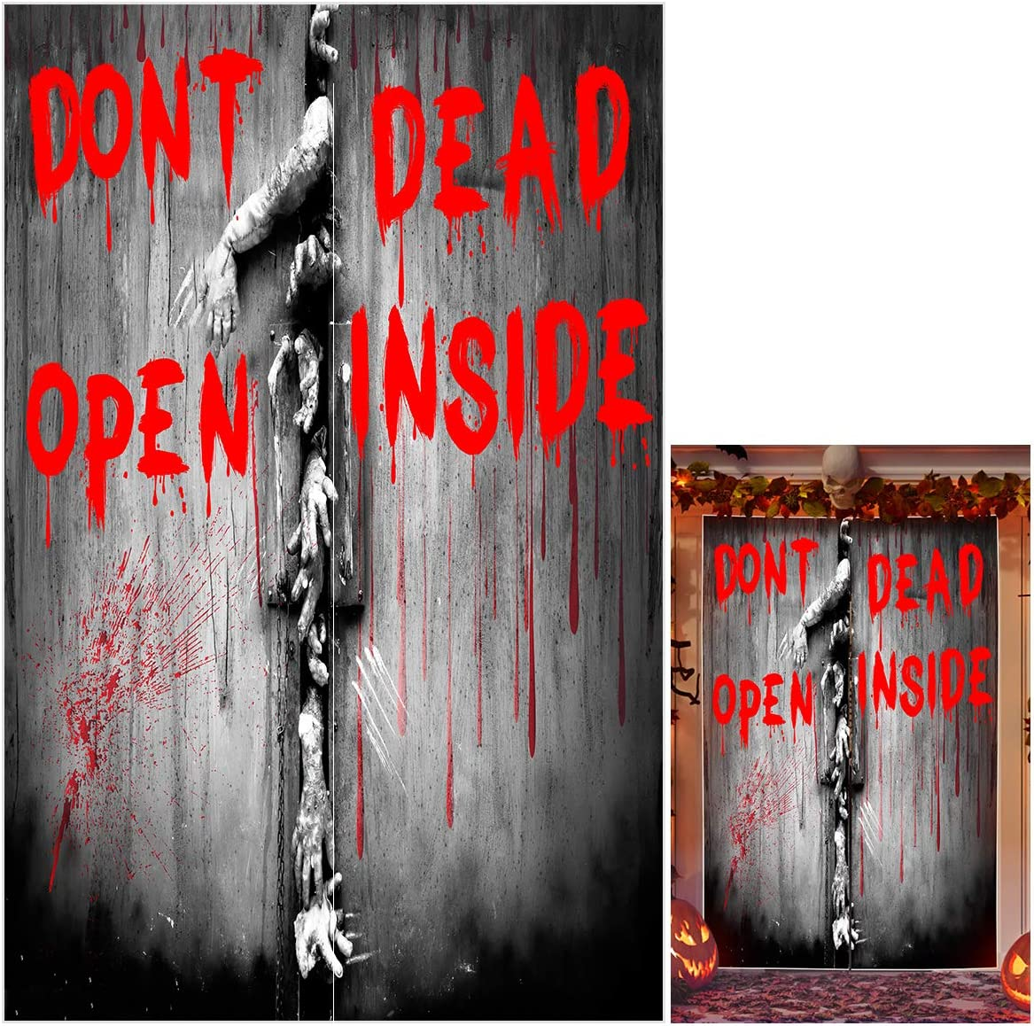 """UTOPP Halloween Door Curtain Decoration, Bloody Words with Zombies Terrible Handprint Wall Party Backdrop,Horror Doorway Curtain for Halloween House Decor Vampire Zombie Theme Party Supply,7949"""" Inch"""