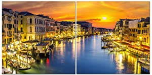 Canvas Wall Art Decor - 24x24 2 Piece Set (Total 24x48 inch) - City Skyline of Venice, Italy - Decorative & Modern Multi Panel Split Canvas Prints for Dining & Living Room, Kitchen, Bedroom & Office