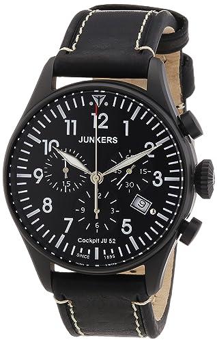 Junkers 6182-2 - Reloj cronógrafo de cuarzo para hombre con correa de piel, color negro: Amazon.es: Relojes