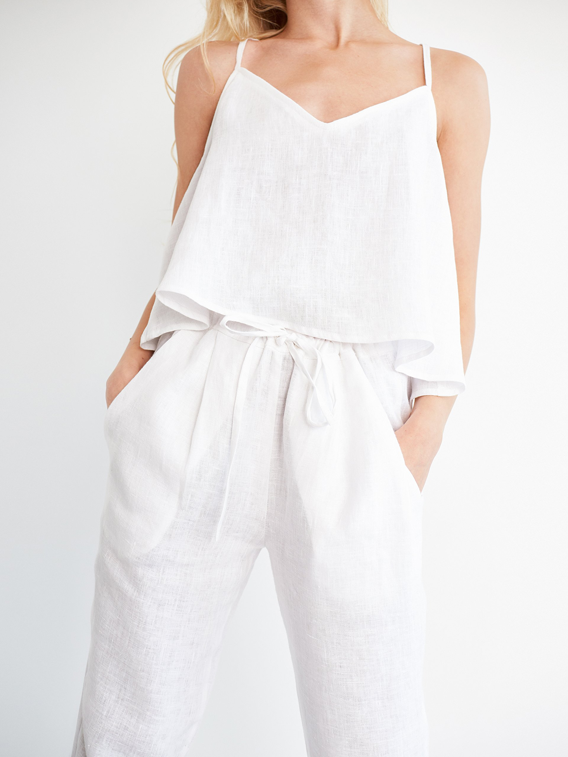 SAVANNAH Cropped Linen Pants in White Drawstring Trousers Relaxed Loose Fit Women Ladies
