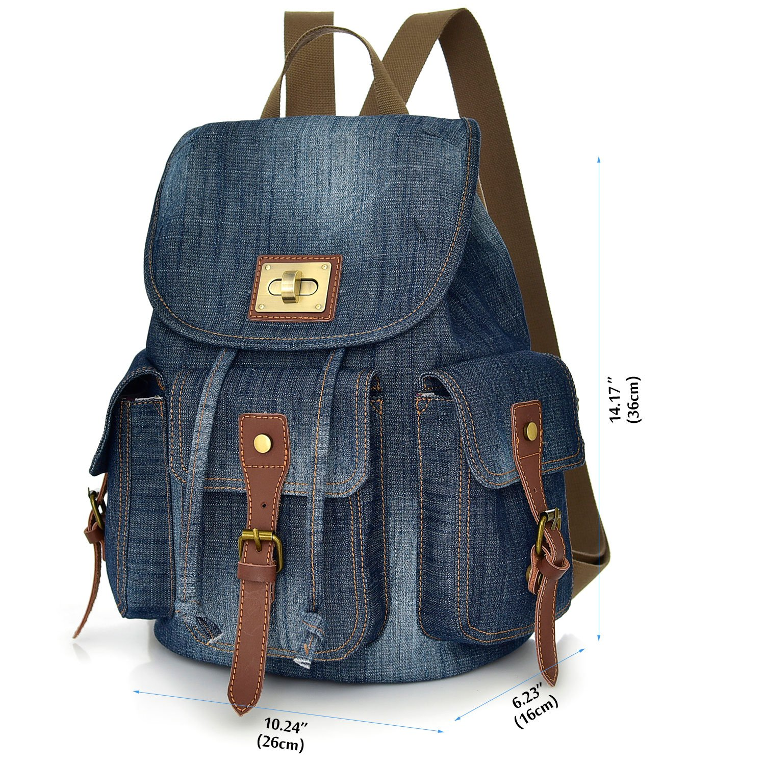 435df77b6c00 Women Denim Backpack Purse School Bookbag for Teenager Girls Vintage Travel  Rucksack Jeans Bag Stonewash College Student Daypack for Textbook  Binder(Green)