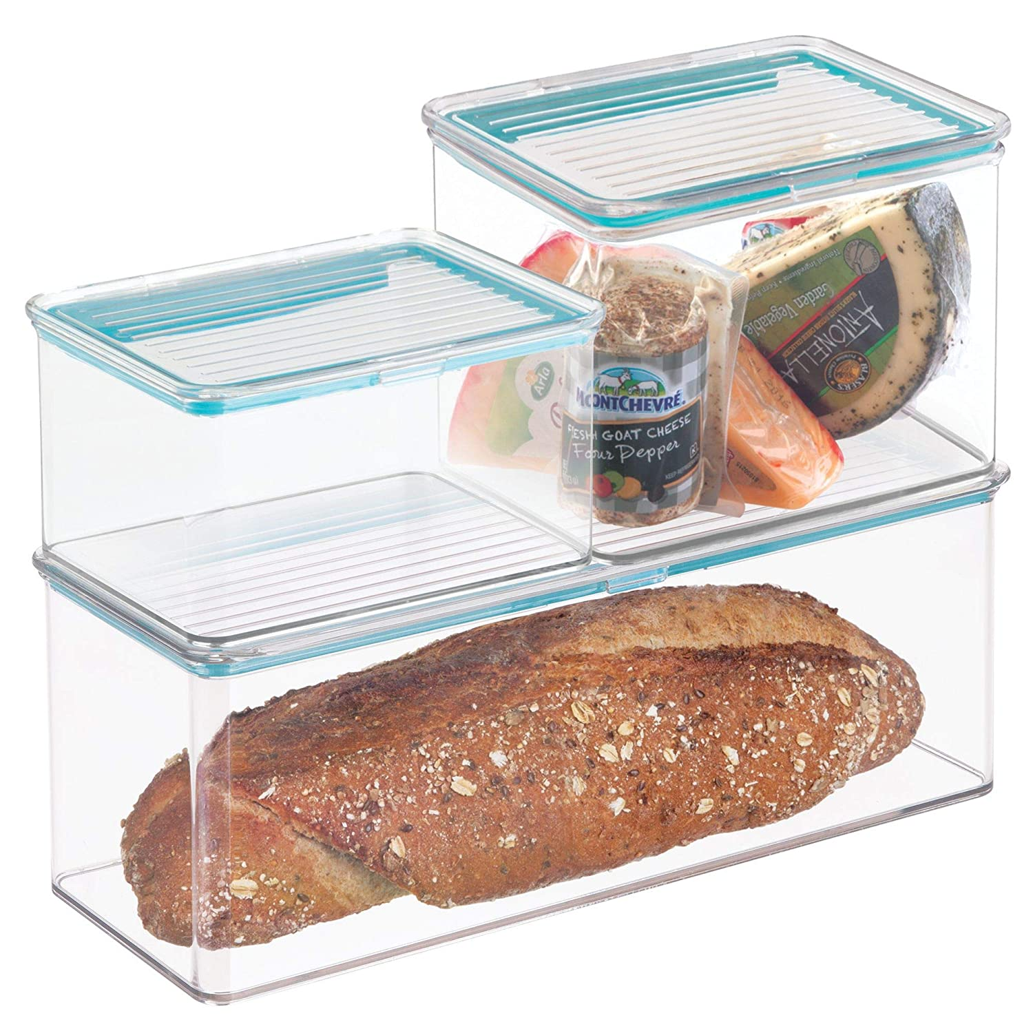 mDesign Airtight Stackable Kitchen Pantry Cabinet or Refrigerator Food Storage Containers, Attached Hinged Lids - Compact Bins for Pantry, Refrigerator, Freezer - BPA Free, Food Safe - Set of 3, Clear