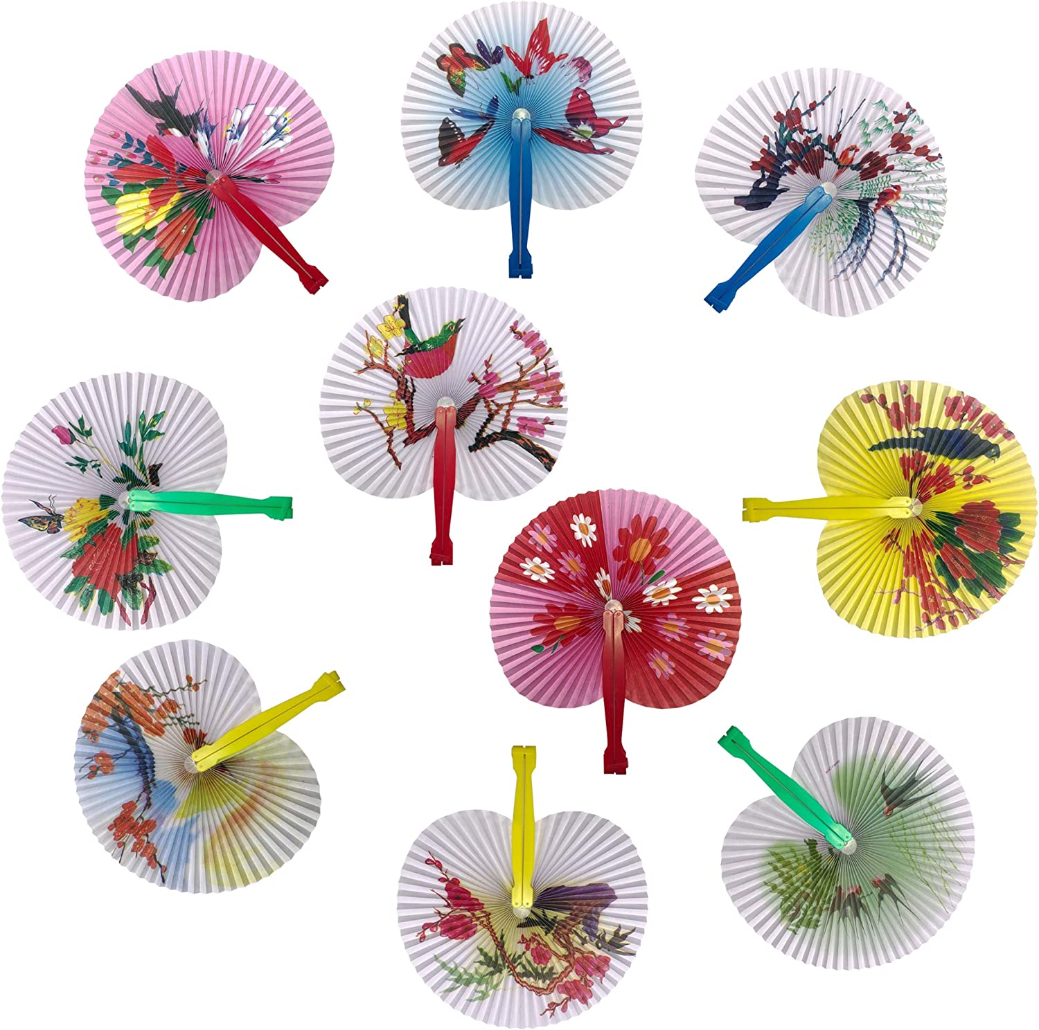"Bestage 20 Pack 10"" Chinese Oriental Handheld Floral Folding Paper Fans Assortment for Wedding Birthday Party Favors Kids Toys Gifts(Colorful Handle)"