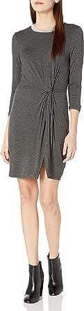 As U Wish Womens I489210A1 Knot Front T Shirt Dress Three-Quarter-Sleeve Dress - Gray