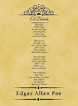 A4 Size Parchment Poster Classic Poem Edgar Allan Poe El Dorado ...