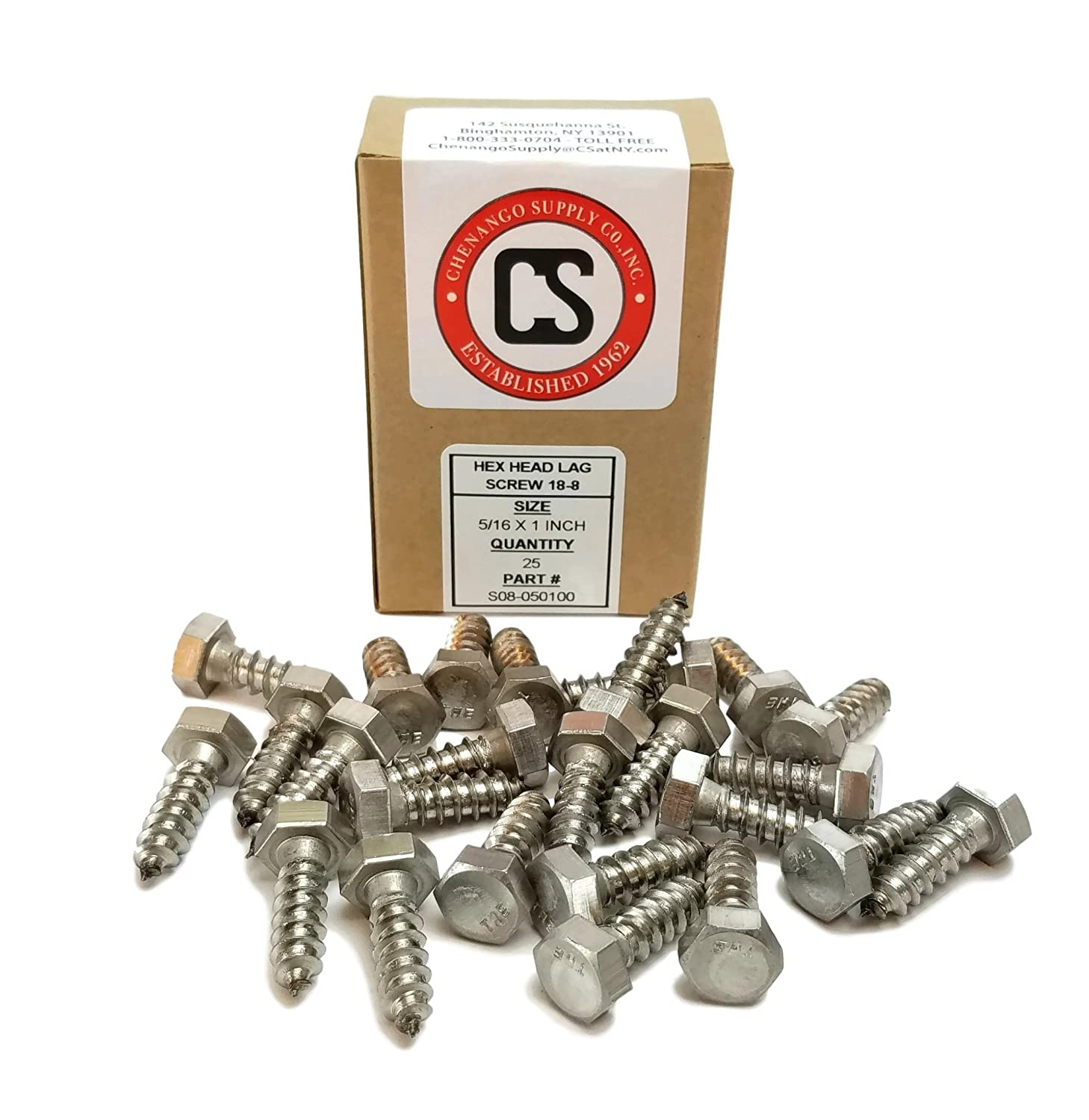 Hex Lag Screws 18-8 Stainless Steel 1//4 x 3-1//2 Qty-25