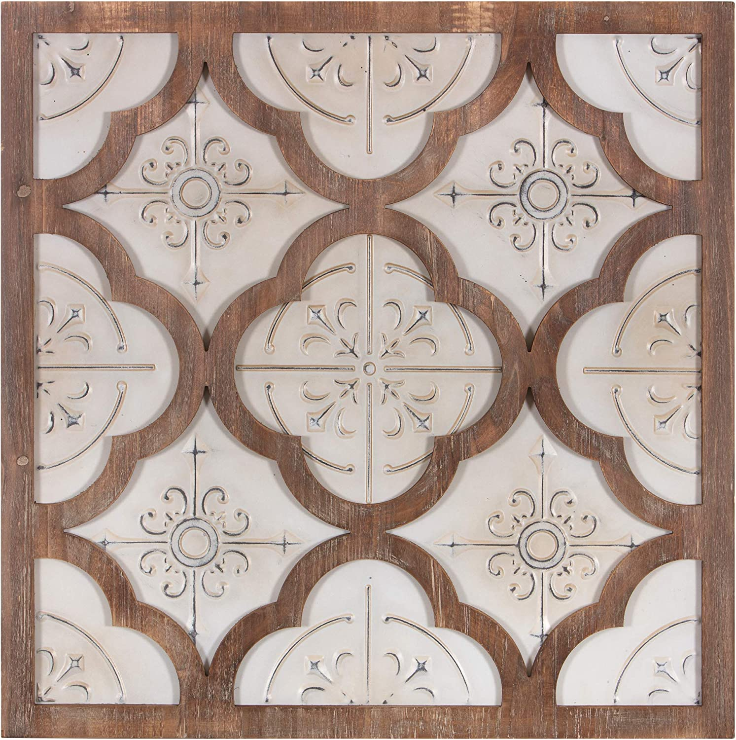 Patton Wall Decor 32 Inch Antique White Metal and Wood Quatrefoil Medallion Framed Art Wall Decor, 32 inches Wide x 32 inches Tall