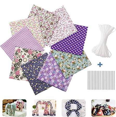 Sewing Crafting 50cm x 50cm 20 x20 Pre-Cut Quilt Squares for Patchwork Coffee CAVEEN Quilting Fabric 9pcs Fat Quarters Fabric Bundles Printed Floral Cotton Fabric