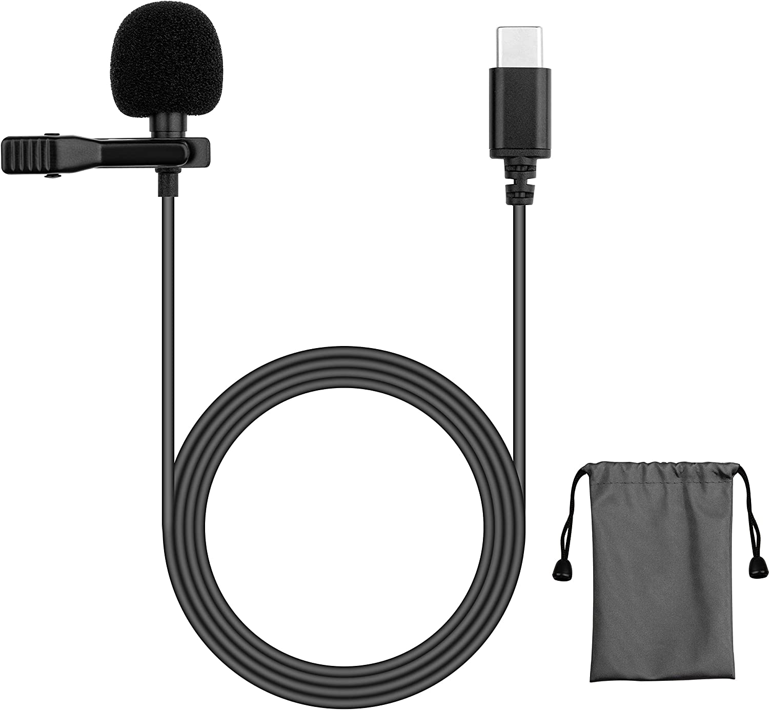 USB C Microphone Lavalier Clip Compatible with MacBook Pro Air Computer Android Samsung S20 S10 Google Pixel 3 4 XL for Zoom Call Meeting YouTube Record