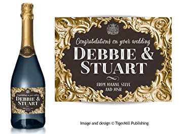 personalised champagne bottle label gold baroque effect birthday