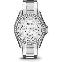 FOSSIL Montre Riley femme / Élégante montre-bracelet et cadran avec strass - Multifonction : jour et mois - Boîte de rangement et pile incluses