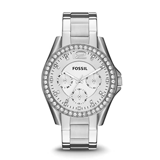 b69d5f336 FOSSIL Riley Multifunction Stainless Steel Watch / Analogue Quartz Women's  Wrist Watch in Silver with Crystals