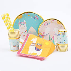 Llama Party Supplies | Stunning Real Gold Foil | Serves 16 | Great for Llama, Cactus, Fiesta Birthday or Baby Shower Themes | Llama Birthday Party Supplies | Llama Baby Shower
