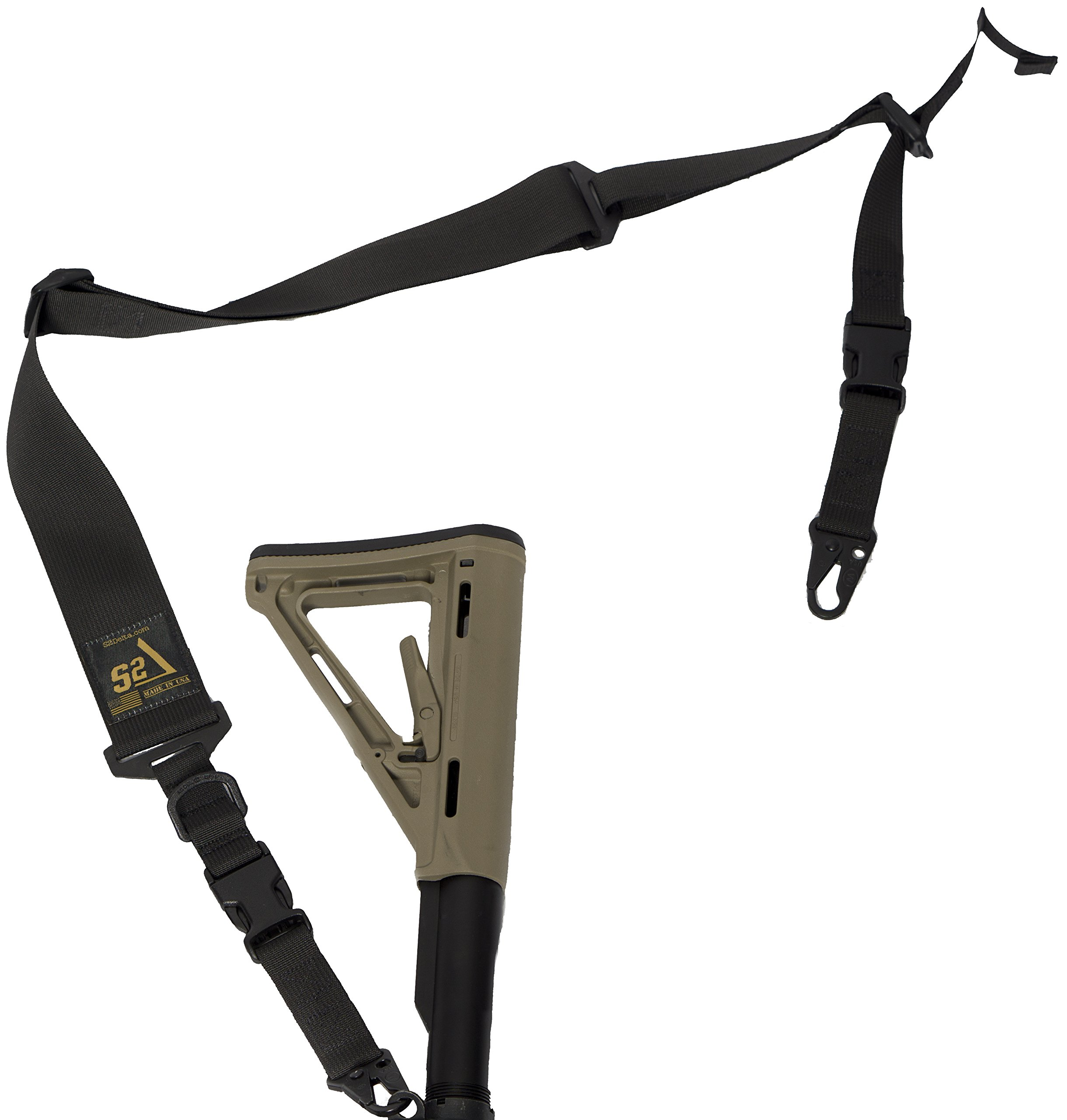 S2Delta - USA Made 2 Point Rifle Sling, Quick Adjustment, Modular Attachment Connections, Comfortable 2'' Wide Shoulder Strap to 1'' Attachment Ends (Black with C.L.A.S.H. Hooks) (MRS2P-USA-BCH) by S2Delta