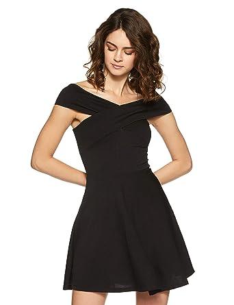 Veni VIDI VICI Black Bandage Bardot Skater Dress  Amazon.in ... 2a0362933