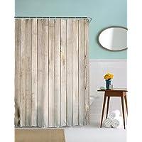 A.Monamour Light Brown Vertical Planks Floor Wood Texture Print Antibacterial Mildew Resistant Waterproof Fabric…