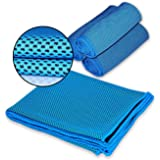 Cooling Towel,Vitalismo Microfiber Sport Towels Super Absorbent Headband Travel Towel for Golf Gym Fitness Exercise Outdoors (Blue)