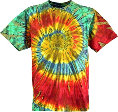 GURU-SHOP, Camiseta Batik, Camiseta Manga Corta Hombre Tye Dye, Algodón, Camisetas Batik