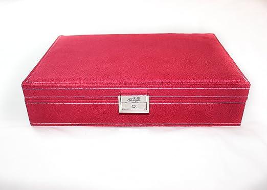 caja joyero organizador con la tapa. El terciopelo de color rojo ...