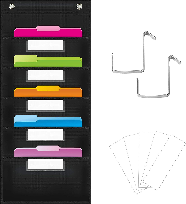 Organizador de bolsillo organizativo, carpeta organizadora de archivos de pared con 5 bolsillos para archivos, 5 tarjetas de borrado en seco y 2 ganchos para puerta, 35,5 x 28 pulgadas