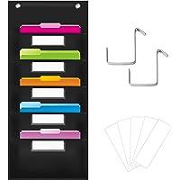 Organization Pocket Chart, Wall File Organizer Folder with 5 File Pockets, 5 Dry-Erase Name Cards Plus 2 Over Door Hooks…